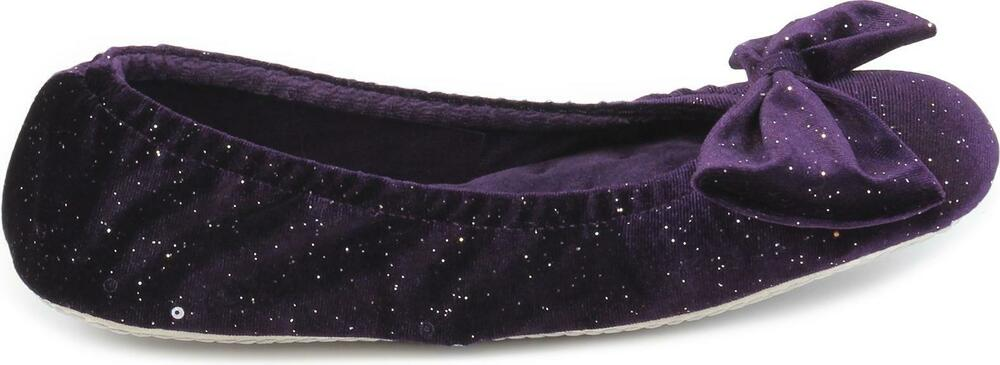 1ca5f59beda Totes Isotoner SPARKLE VELOUR BIG BOW Ladies Womens Ballet Slippers Purple
