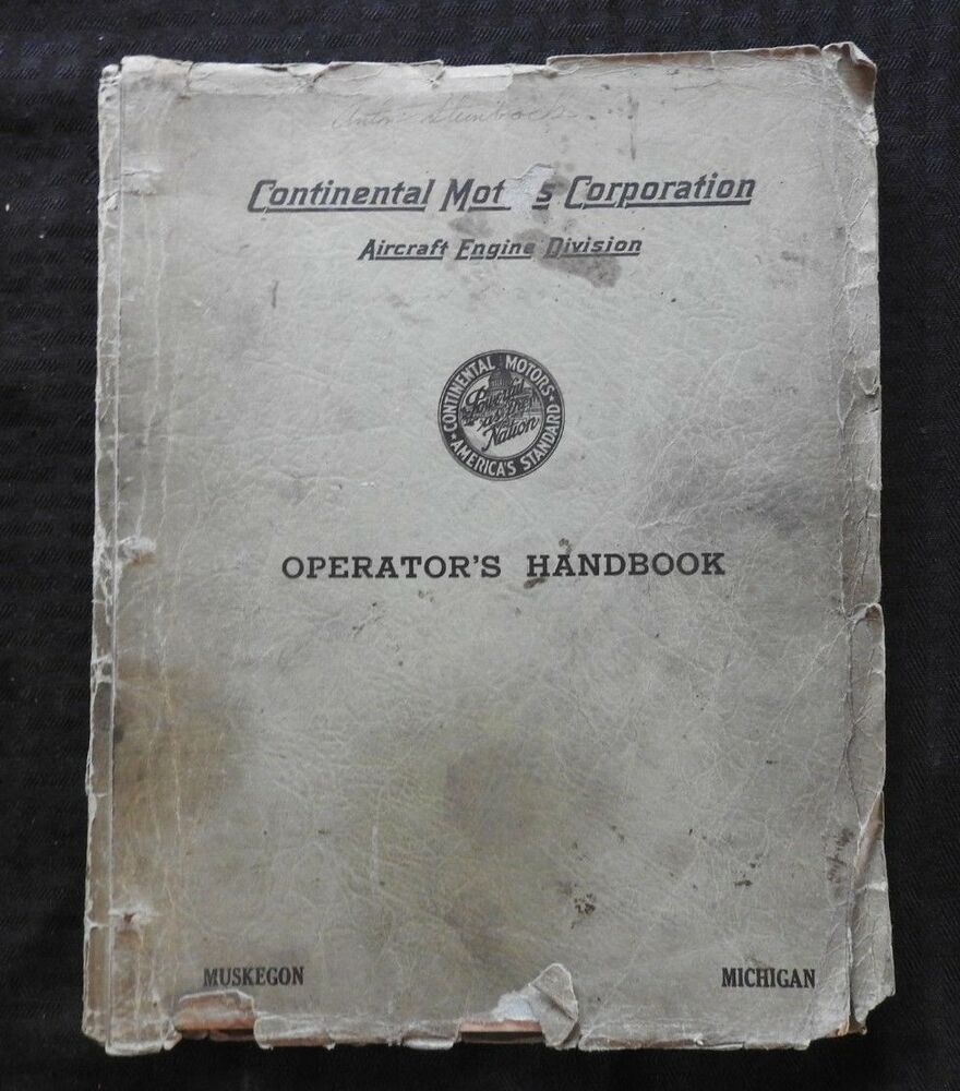 1941 CONTINENTAL MOTORS A50 A65 A75 A80 AIRPLANE ENGINE OPERATOR'S MANUAL  GOOD 1   eBay