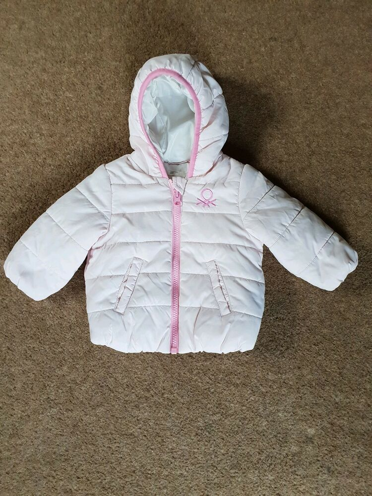 890a2c2ad2547 Details about Benetton Baby Girl Coat jacket Hooded Quilted Puffer 6-9  Months Autumn Winter
