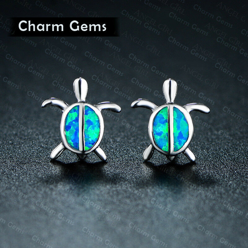 06cfb1538 Details about Lovely Women Opal Turtle Small Animal Ear Studs Earrings  Silver Jewelry New