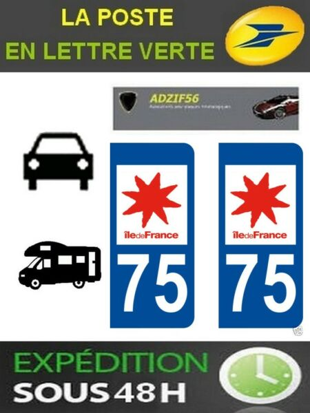 2 AUTOCOLLANT PLAQUE IMMATRICULATION DEPARTEMENT 75 LOGO REGION ILE DE FRANCE