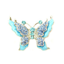 Butterfly Pin Brooch Gorgeous Aqua Light Blue Crystal Insect Fashion