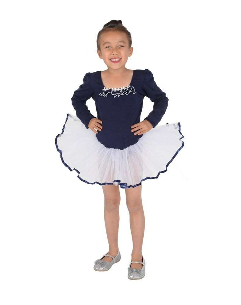 b863be754 Girls Long Sleeve Ballet Dance Tutu Dress Pink Blue 4 5 6 7 8 9 ...