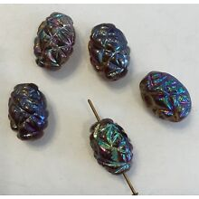VINTAGE STUNNING JAPANESE IRIDESCENT ART GLASS BEADS 10 PIECES