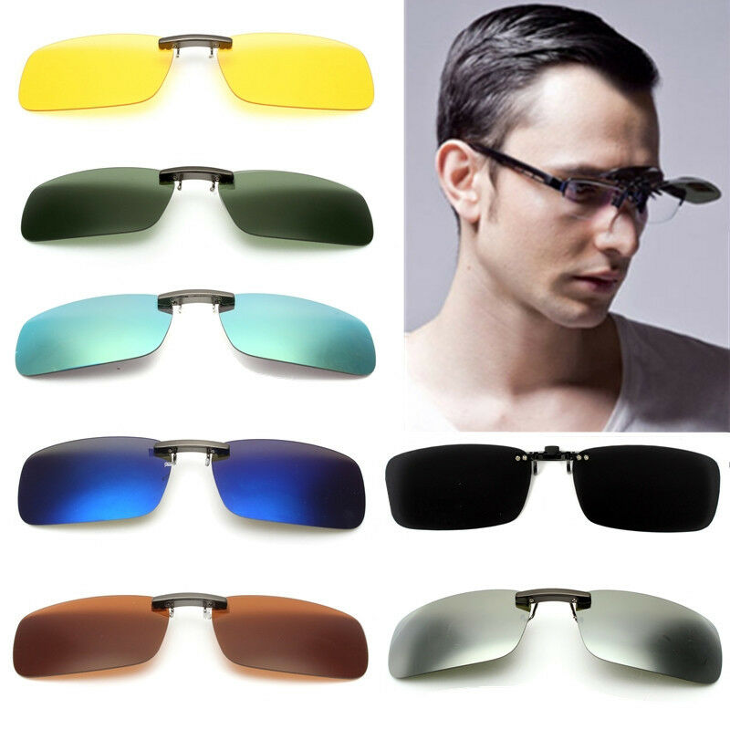 f65e5c4921 Details about Polarized Day Night Vision Flip-up Clip-on Lens UV400 Driving  Glasses Sunglasses
