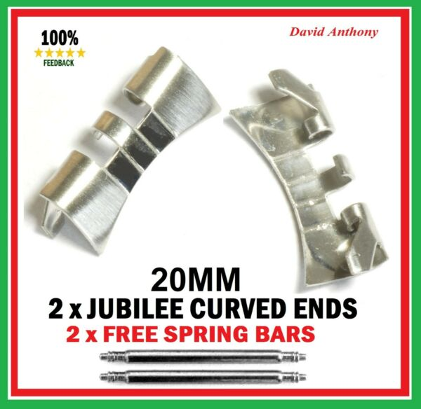 JUBILEE WATCH BRACELET CURVED ENDS (2) 18mm 20mm or 22mm  Stainless Steel
