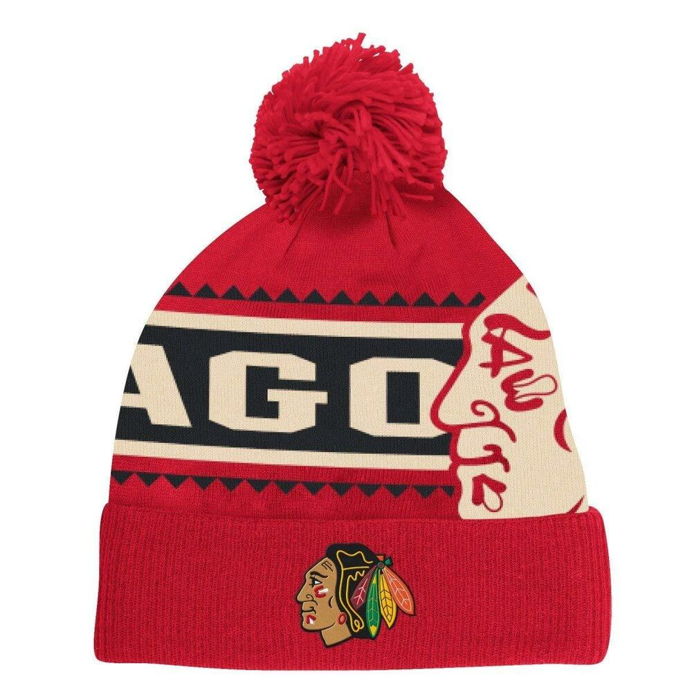 buy popular 80a51 ba0b1 Details about Youth Chicago Blackhawks Face-Off Cuffed Knit Beanie with Pom  Reebok NHL