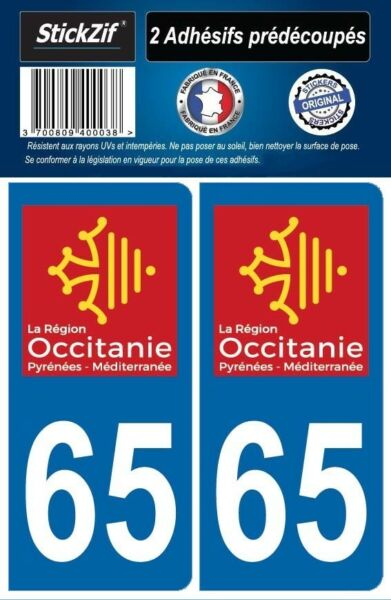 2 STICKERS DEPARTEMENT 65 PLAQUE IMMATRICULATION AUTO BLASON REGION OCCITANIE