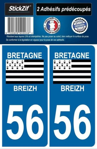 2 STICKERS DEPARTEMENT 56 PLAQUE IMMATRICULATION BLASON REGION DRAPEAU BRETAGNE