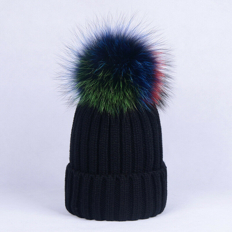 0ae0ff61f71 Details about Winter Warm Women Girls Pompom Hat Cap with Genuine Raccoon  Fur Pompom Beanie