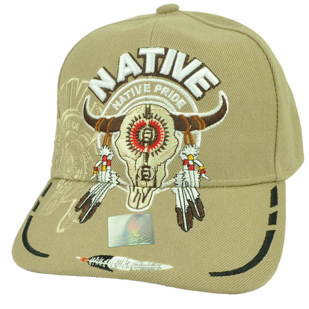 6297d32c82316 Details about Native Indian American Pride Buffalo Skull Shadow Feather  Khaki Adjustable Hat