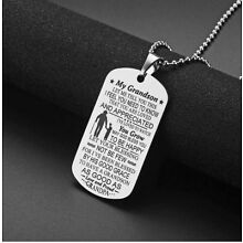 Grandson Necklace from Grandpa to My Grandson Dog Tag Pendant Necklace