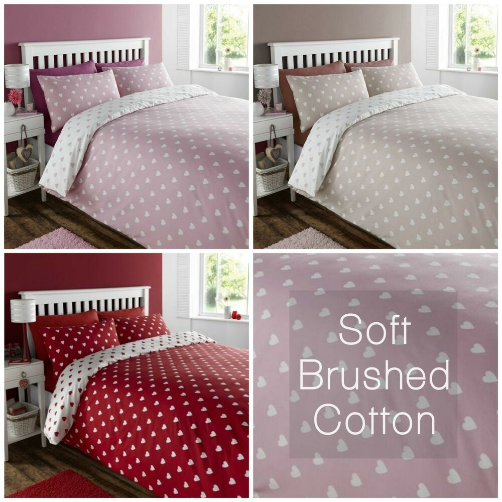 Details About Hearts Soft Brushed Cotton Duvet Set Flannelette Quilt Cover Bed Linen Bedding