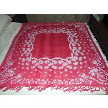 SALE Antique Turkey Red Tablecloth Jacquard Damask Reversible