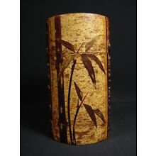 Japanese Cherry Bark Tea Caddy Large Canister Bamboo Tree Design