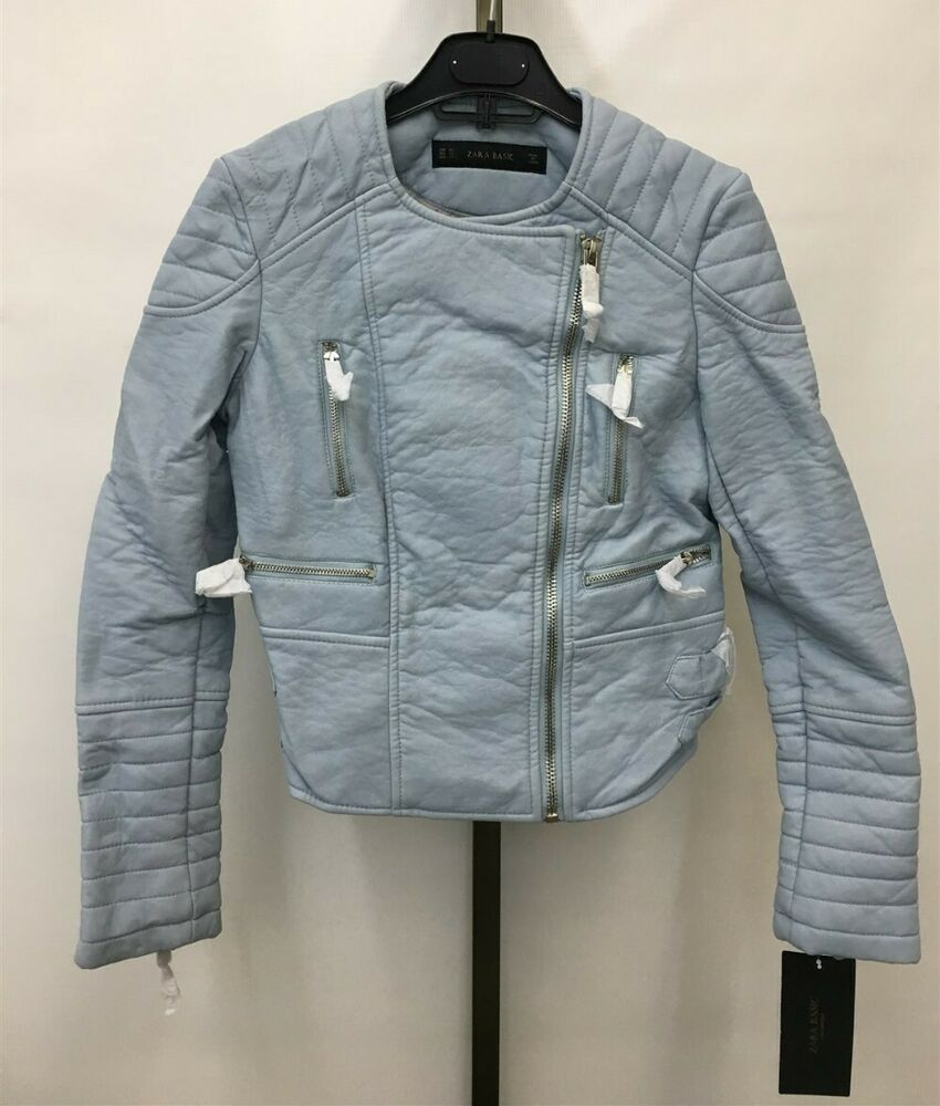 0db66181bff Details about NWT Zara Basic Women s Blue Leather Moto Jacket