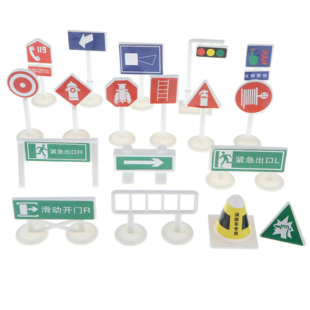 Details about 18pcs fire safety road signs toys kids traffic knowledge educational playset