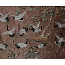 Large Antique Chinese Embroidered Silk Panel With Cranes