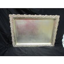Antique Silver Plate Tray, Ornate Rococo Edge, Rectangular   16