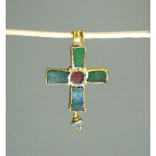 ANCIENT GOLD & GLASS CROSS PENDANT BYZANTINE 400-600 AD * Holiday reduced prices