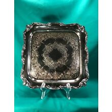 SilverPlate Wilcox International Rochelle Pattern Square Tray