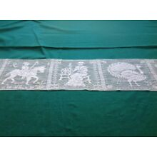 Rare Antique Figurale Filet Net Lace Runner - Off-White/ Ivory 40