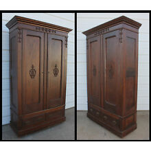 Antique Solid Oak Hand Carved Knock Down 2 Door Wardrobe Armoire Clothes Closet