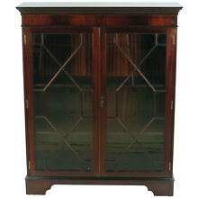 Antique Style Mahogany Short Glass Door Narrow Bookcase Bookshelf China Cabinet