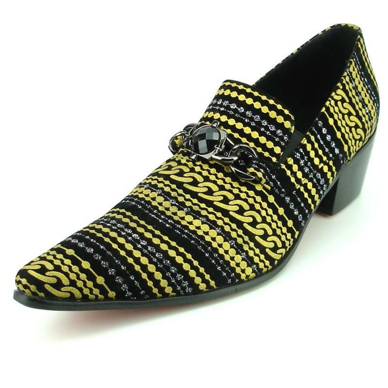 a2de02f30 Details about Fiesso Black Gold Flocking Print Suede Slip on Pointed Toe  Shoes FI 7307