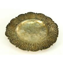 ! Antique FINE Southeast Asian Silver Repousse Hand Chased Footed Dish Plate