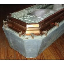 1920's Infant Child Heavy Glass View Lid & Metal Casket Coffin  Satin Lined