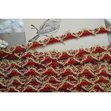 1y VTG RED GIMP PASSEMENTERIE BRAID GOLD METALLIC RIBBON TRIM FRENCH LAMPSHADE