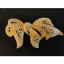 VINTAGE NAPIER CLEAR CRYSTAL RHINESTONE LARGE GOLD BOW BROOCH PIN MINT!