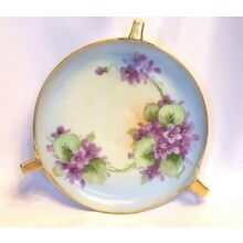 Beautiful Vintage Signed Hand Painted Violet Gold Trim Handled Dish D972A