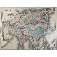Europe & Asia EU Russia China Japan OW Gray 1876 Large Antique Hand Colored Map