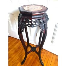 Antique Chinese Carved Rosewood / Marble  Tall Plant Stand