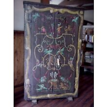 Antique Hand Painted Small European Armoire - Shipped from France