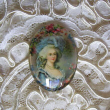 Marie Antoinette 30X40mm Glitter Unset Handmade Art Bubble Cameo Cabochon
