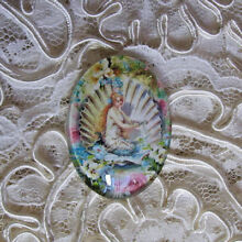 Mermaid In Shell 30X40mm Glitter Unset Handmade Art Bubble Cameo Cabochon