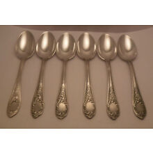 VINTAGE set of 6 RUSSIAN STERLING SILVER ROCOCO pattern TEASPOONS HALLMARKED