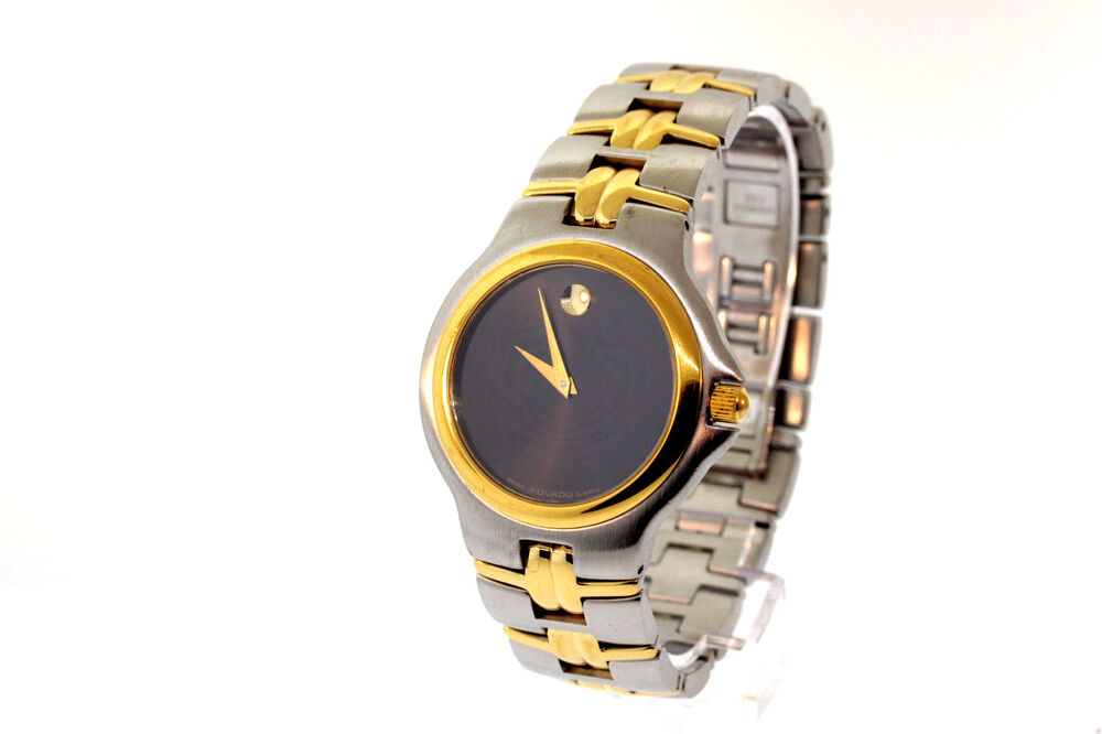 3cdb8f7b352 Details about Men s Movado 0601925 Olympian Two Tone Stainless Steel Black  Dial Watch