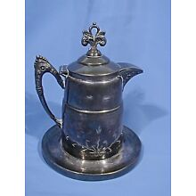 ANTIQUE SYRUP PITCHER marked BELMONT SILVER TRIPLE PLATE