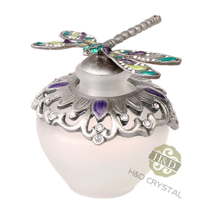 482eee77617f Details about Vintage Dragonfly Empty Frosted Glass Essential Oil Perfume  Bottle Stopper New