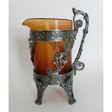 Rare Antique B Bros Triple Silver Plate Aesthetic Blown Amber Glass Pitcher Jug