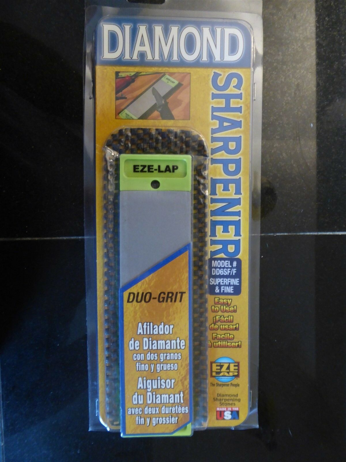 Non Skid Pad Included EZE-LAP DD6SF//F 2 by 6 Double Sided Diamond Sharpening Stone SF//F