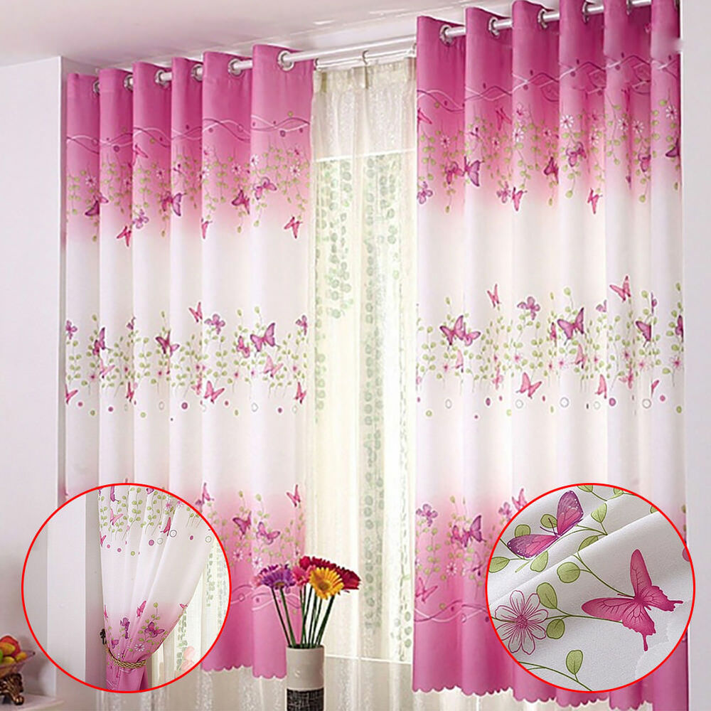 Pink Butterfly Childrens Bedroom Finished Curtain Kids Door Window ...