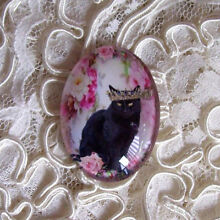 Black Cat Crown & Roses 30X40mm Glitter Unset Handmade Art Bubble Cameo Cabochon