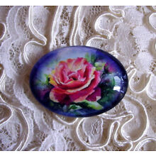 Painted Rose Floral 30X40mm Glitter Unset Handmade Art Bubble Cameo Cabochon