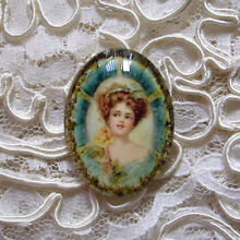 Victorian Lady & Rose 30X40mm Glitter Unset Handmade Art Bubble Cameo Cabochon