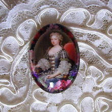 Victorian Lady 30X40mm Glitter Unset Handmade Art Bubble Cameo Cabochon
